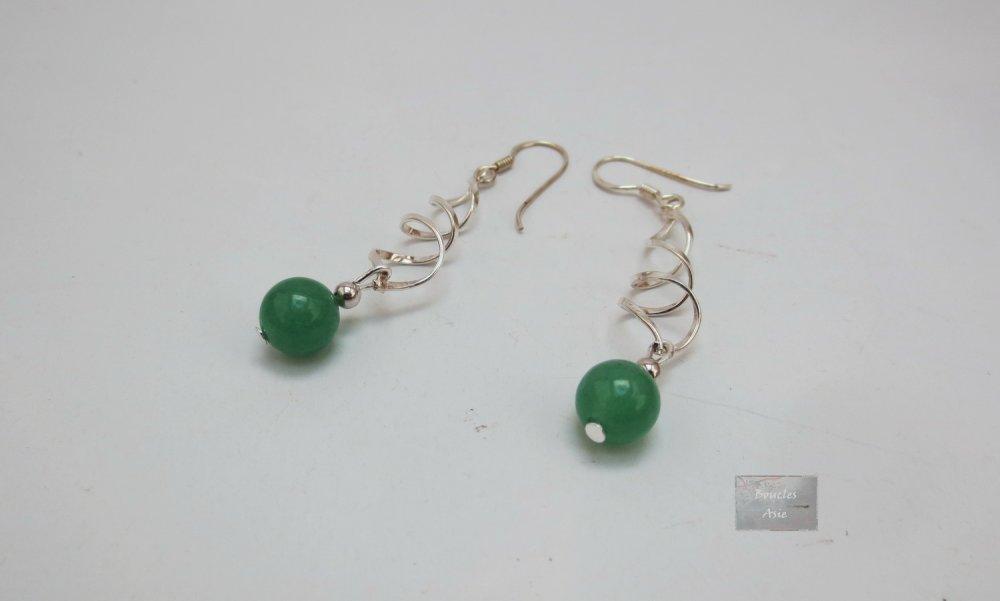 Boucles d'oreilles Argent 925 et pierre fine naturelle Aventurine