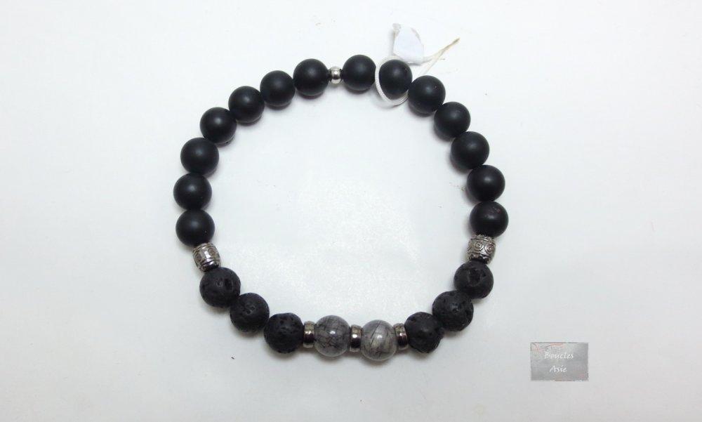 Bracelet homme Quartz Tourmaline lave agate noire mat 8 mm pierres naturelles gemmes
