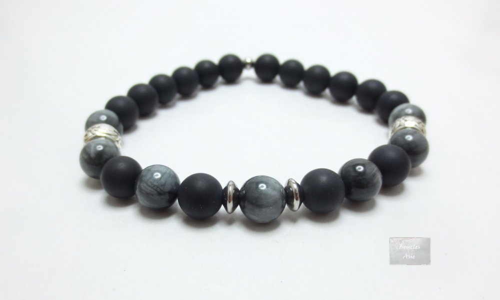 Bracelet homme Œil d'Aigle ou de fer pierre naturelles gemmes & agate noire Mat 8 mm