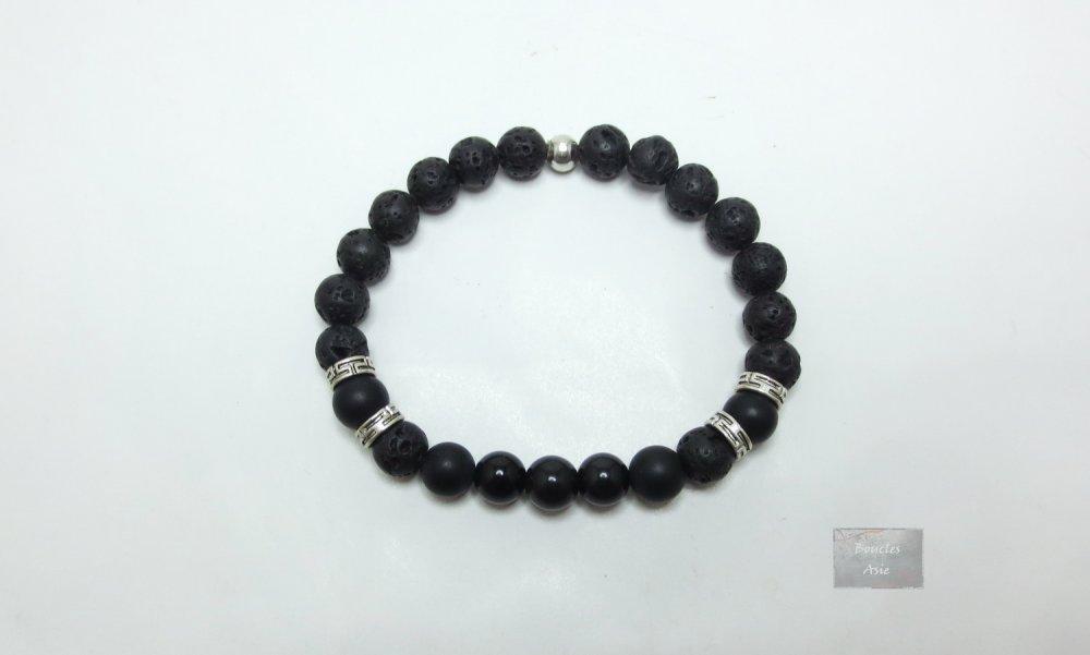 Bracelet homme Agate noire mat obsidienne et pierre de lave Pierres naturelles gemmes 8 mm