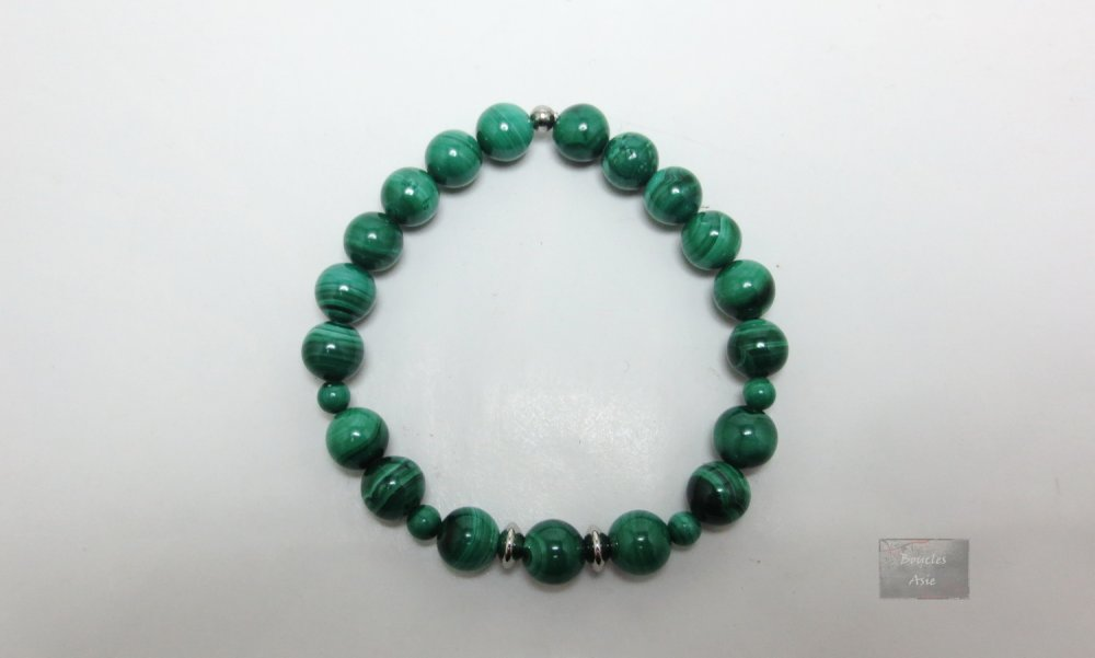 Bracelet stretch Malachite Pierres naturelles gemmes protection 8 mm