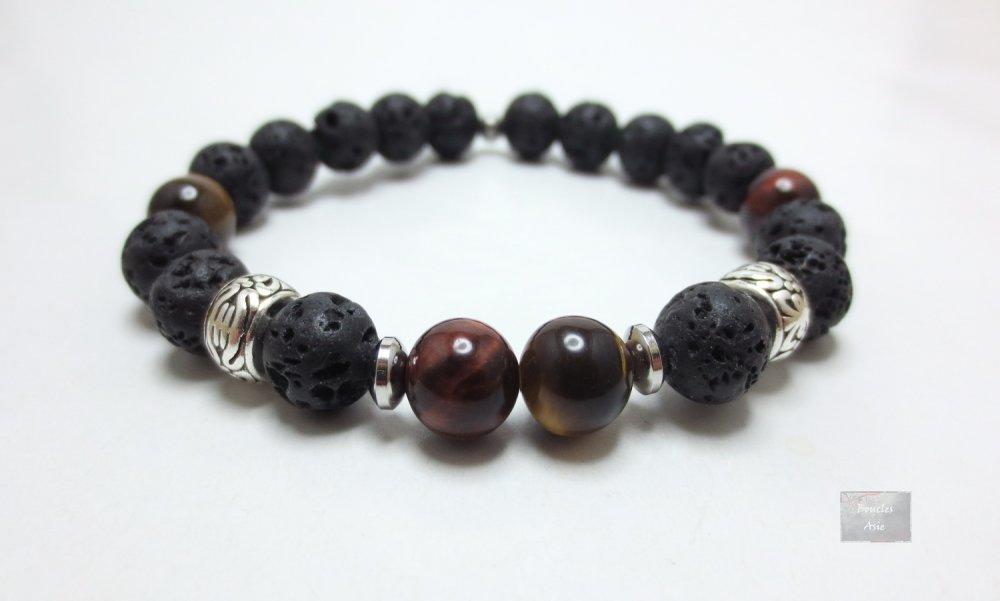 Bracelet homme Œil de tigre taureau pierre naturelles gemmes,agate noire,pierre de lave Mat 8 mm