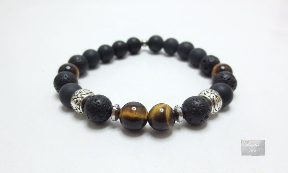 Bracelet homme Œil de tigre pierre naturelles gemmes Protection,agate noire,pierre de lave Mat 8 mm