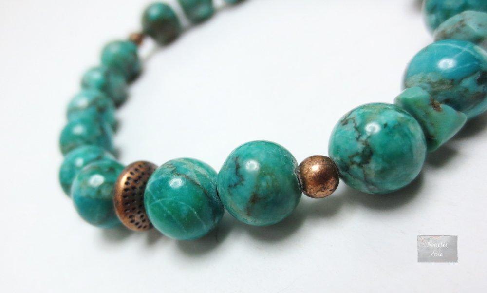 Bracelet stretch pierre naturelles gemmes Jaspe Turquoise africaine,cuivre 8 mm
