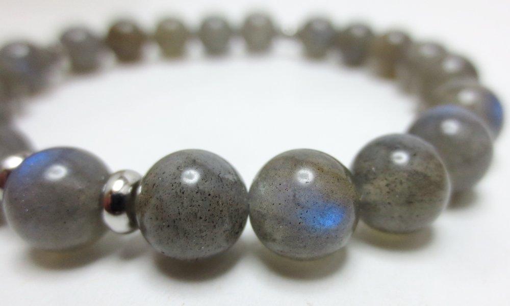 Bracelet femme pierre naturelles gemmes Labradorite reflets Acier inoxydable 8 mm