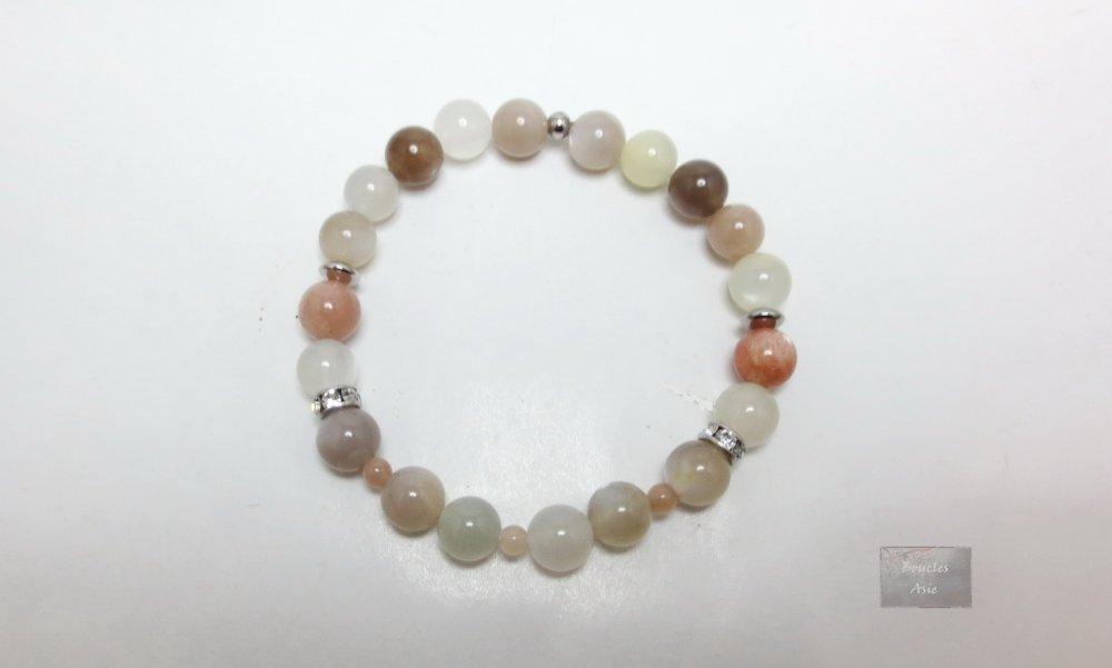 Bracelet femme pierre naturelles gemmes pierre de lune Acier inoxydable 8 mm