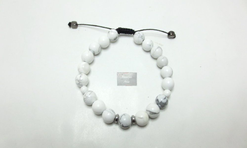 Bracelet Pierres naturelles Howlite 8 mm fil macramé taille extensible
