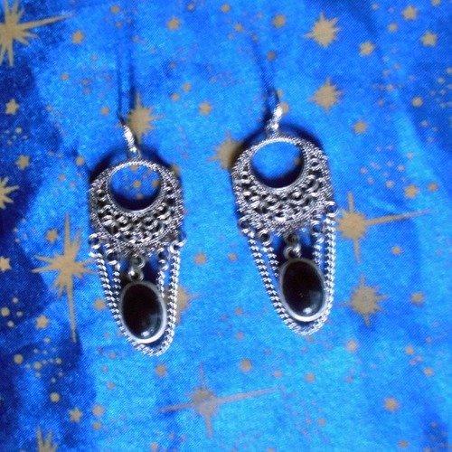 Boucles d'oreilles en alliage argent/étain, style rétro, avec tourmalines de 10x14mm.