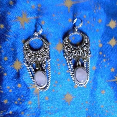 Boucles d'oreilles en alliage argent/étain, style rétro, avec des améthystes claires de 10x14mm.