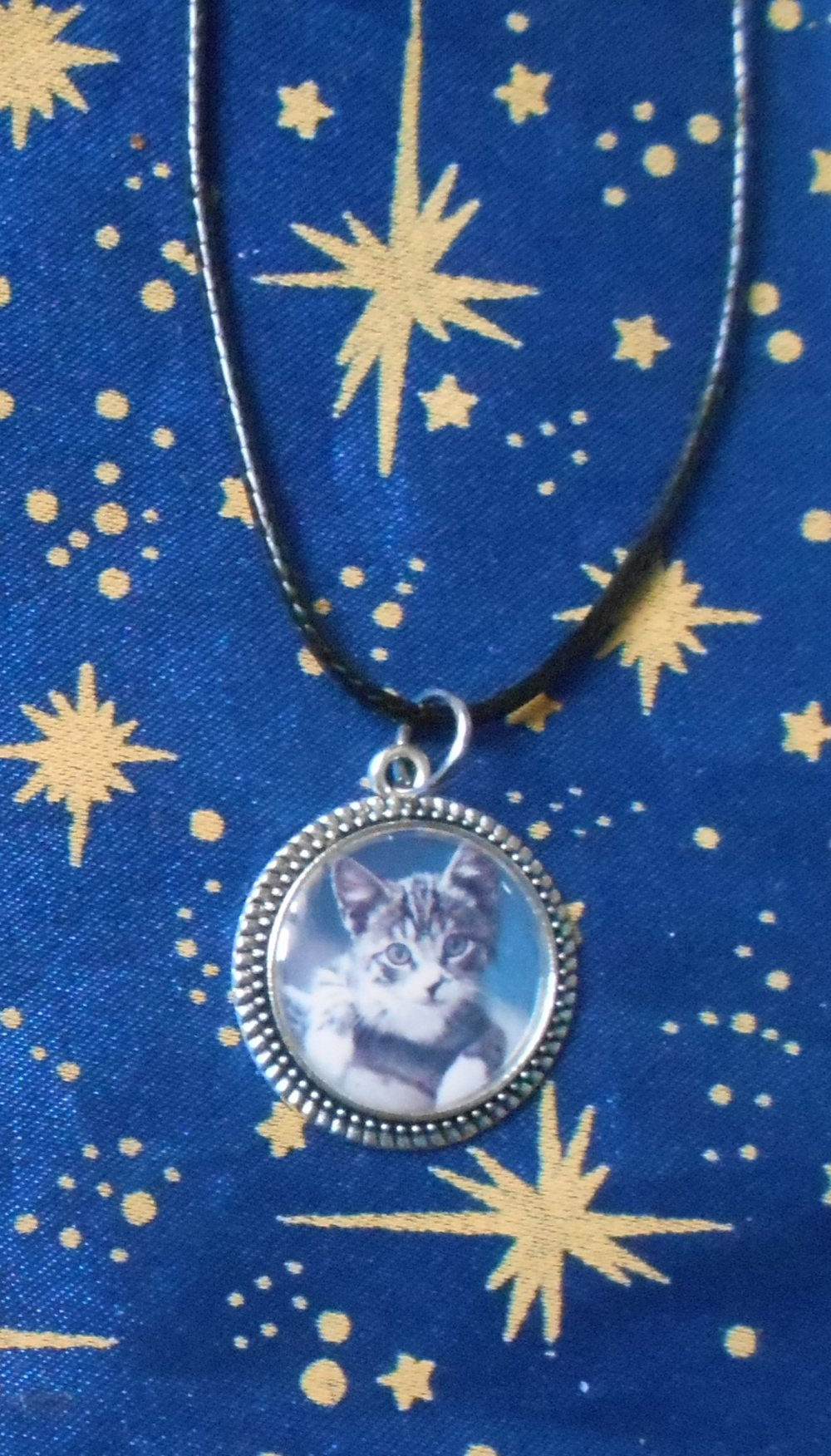 Médaillon en alliage argent/étain avec dot's image chat blanc et gris sur fonds bleu de 20mm de diamètre.