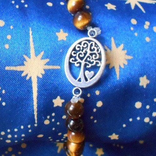 Bracelet avec perles d'oeil de tigre véritables de 6mm avec arbre de vie en inox de 13x18mm.