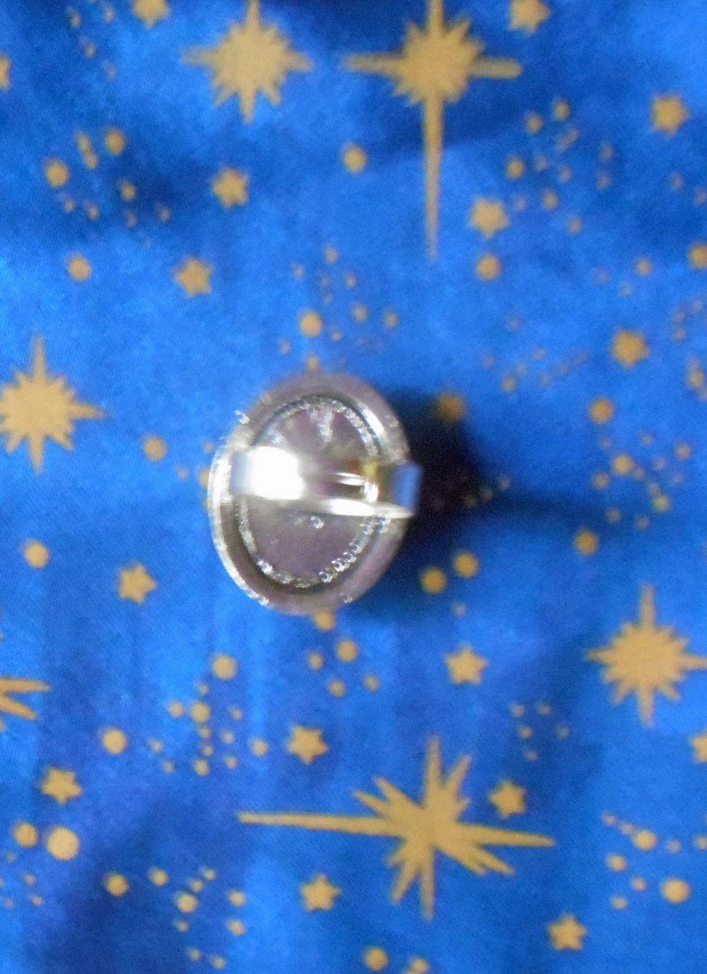 Bague en alliage argent/étain, style rétro, avec une rhodonite de 13x18mm