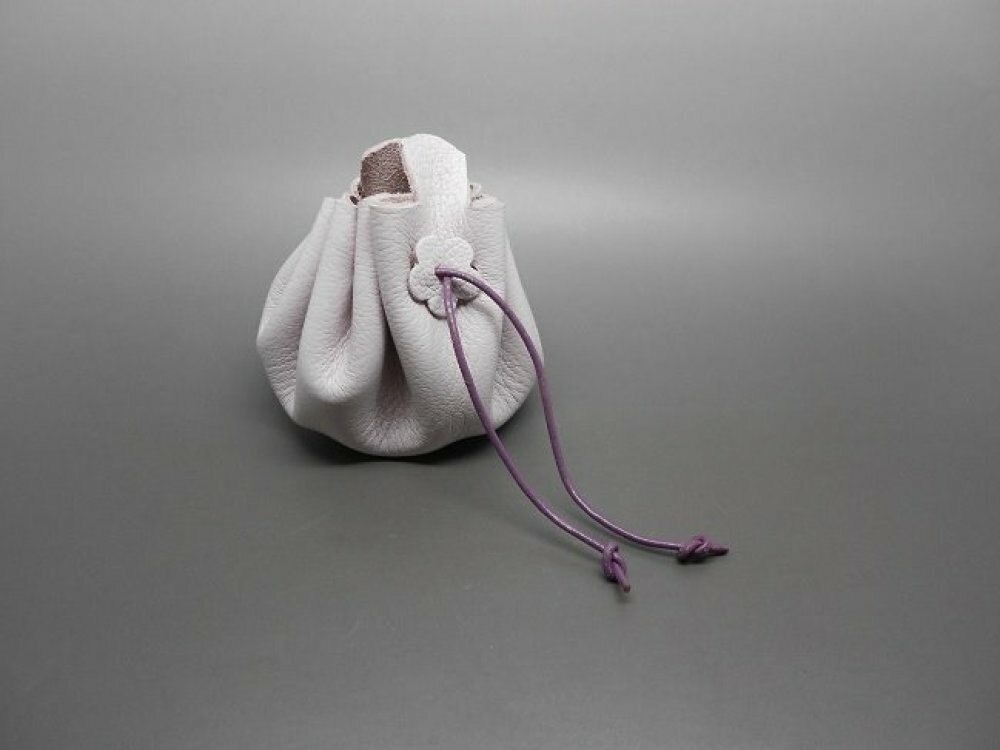 bourse en cuir mauve petit format pour enfant ou pour bijoux