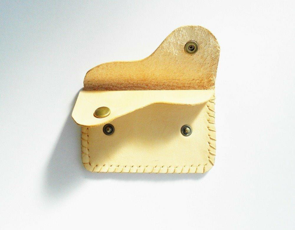 porte-monnaie deux compartiments cuir naturel et ginkbo biloba