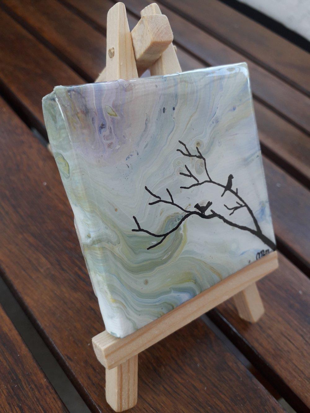 """Petite peinture  """"A l'aube sur une branche"""""""