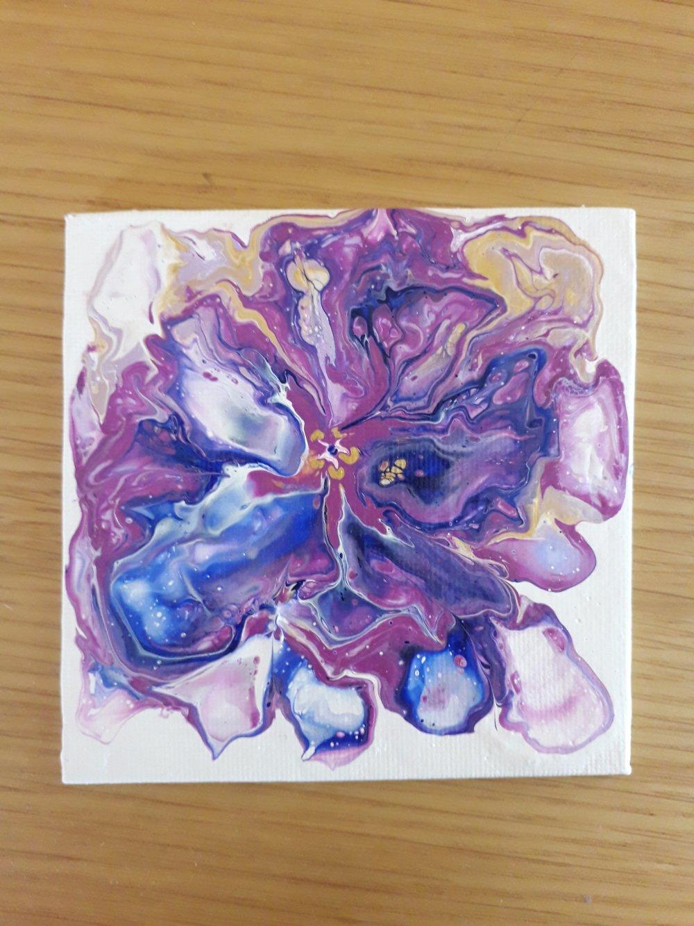 "Peinture abstraite ""Fleur bleue"""