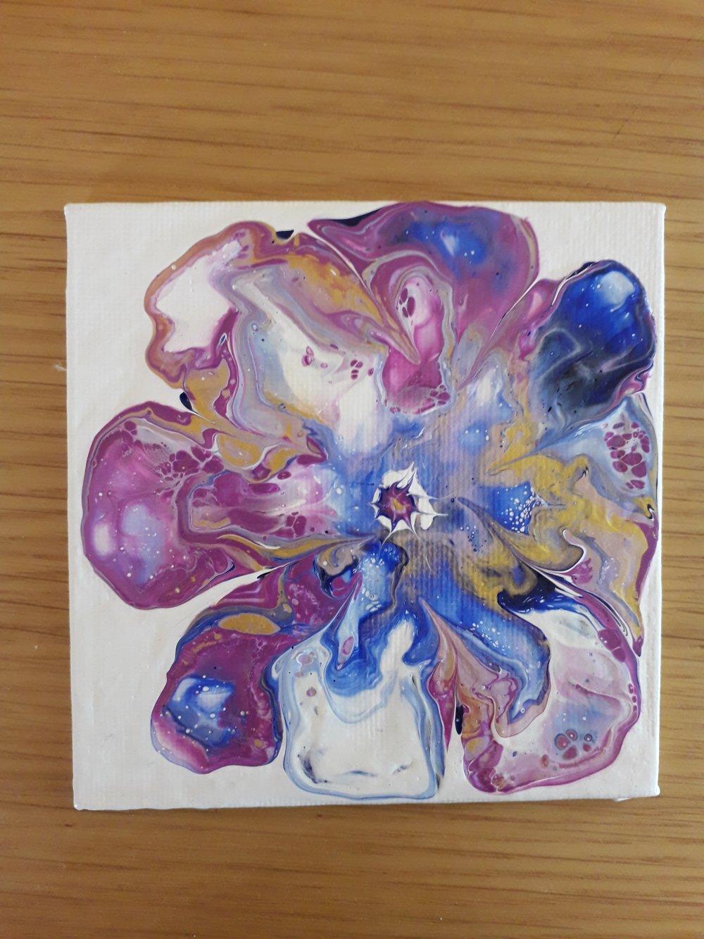 "Peinture abstraite ""Fleur bleue 2"""