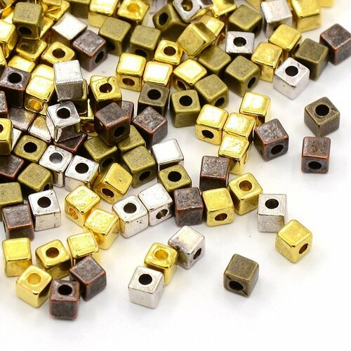 X20 perles métal cube 4mm coloris mixtes vieillies
