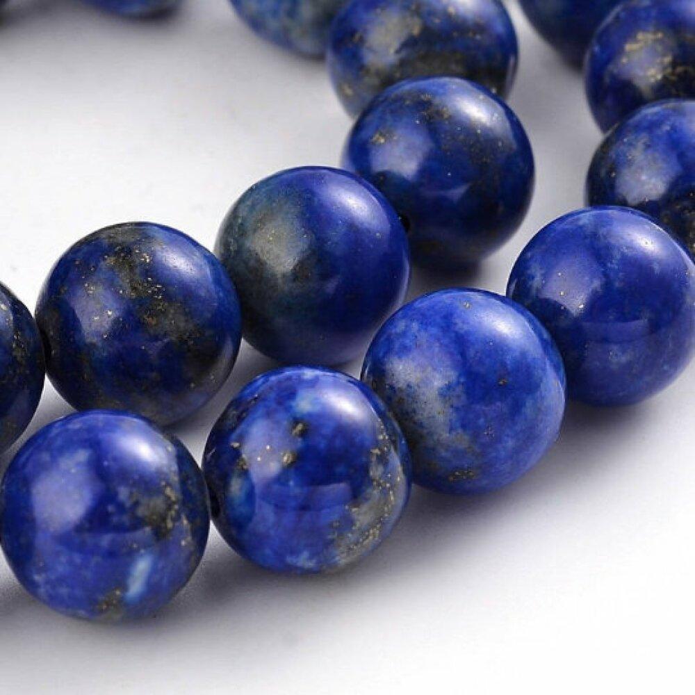 x10 Perles lapis lazuli rond bleu 8mm