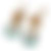 Kit boucles d'oreilles anti-allergies doré,bleu,blanc breloques rondes peinture émail