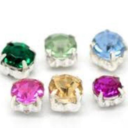 X24 perles strass carré acrylique à enfiler,coller,sertir ou à coudre sertis sur base cuivre argenté 5mm