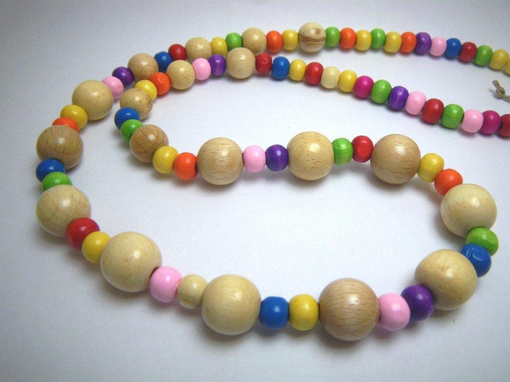 Collier perles bois naturel et multicolore