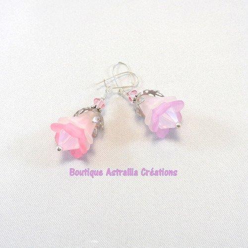 Boucles d'oreilles en perles acrylique et perles toupie cristal de swarovski