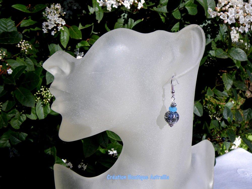 Boucles d'oreilles en perles acryliques et perles de verre bleu
