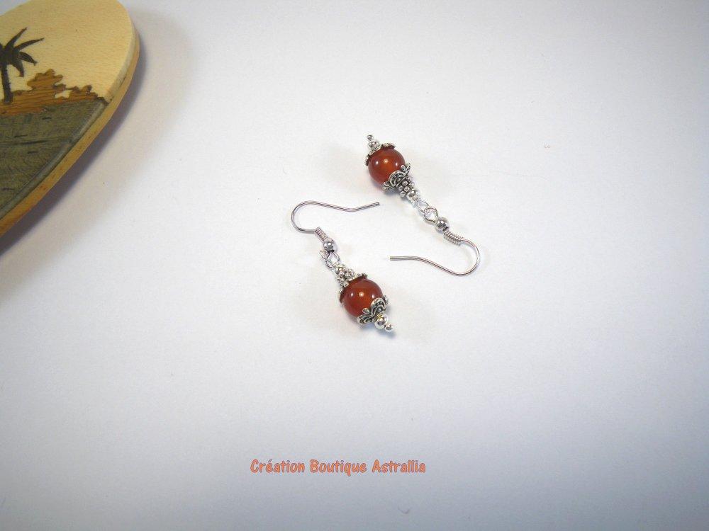 Boucles d'oreilles en pierres fines d'agate rouge orangé