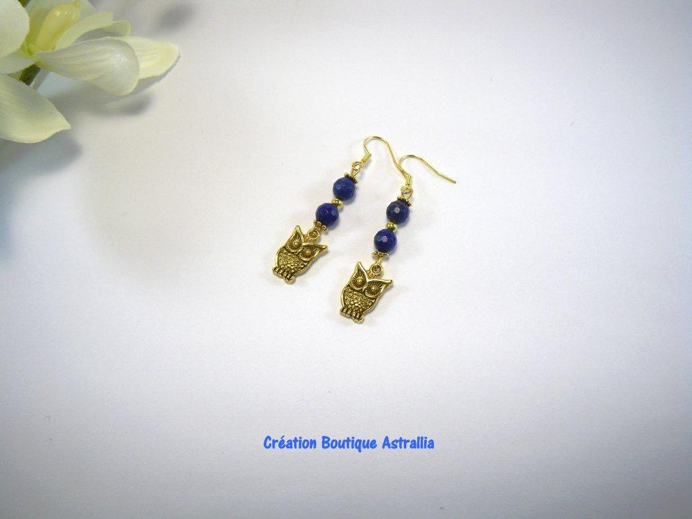Boucles d'oreilles en pierres fines de lapis-lazuli bleu foncé