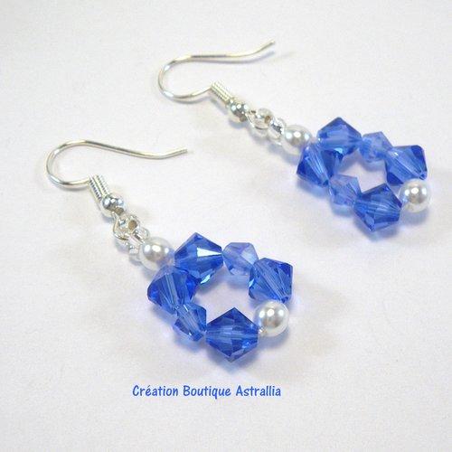 Boucles d'oreilles tissées en perles de cristal swarovski sapphire et sapphire ab