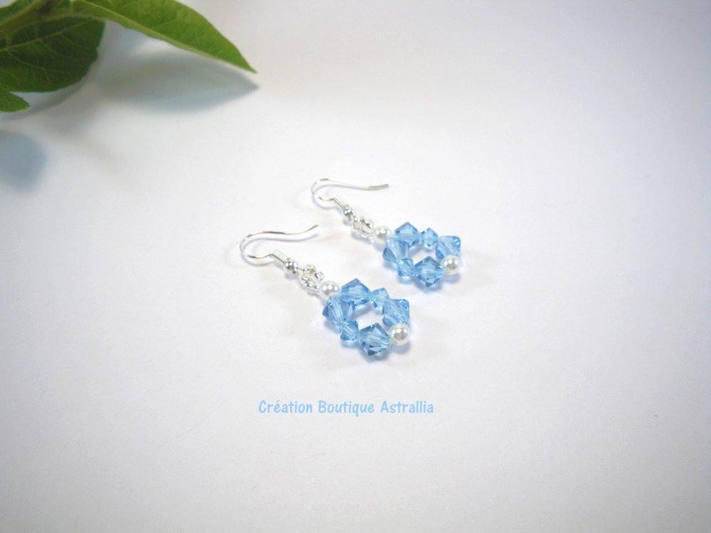 Boucles d'oreilles tissées en perles de cristal Swarovski aquamarine