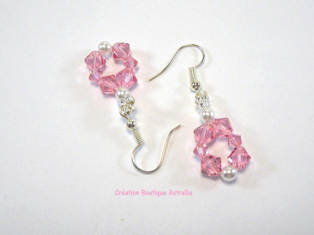 Boucles d'oreilles tissées en perles de cristal Swarovski light rose
