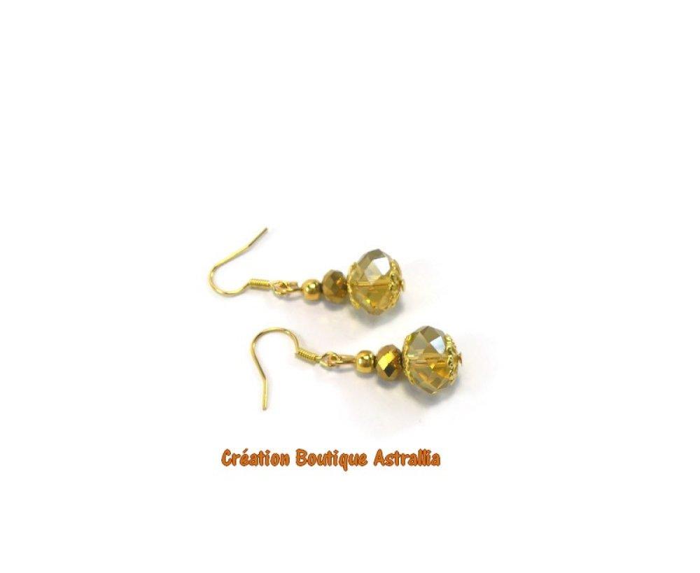 Boucles d'oreilles en perles de verre à facettes