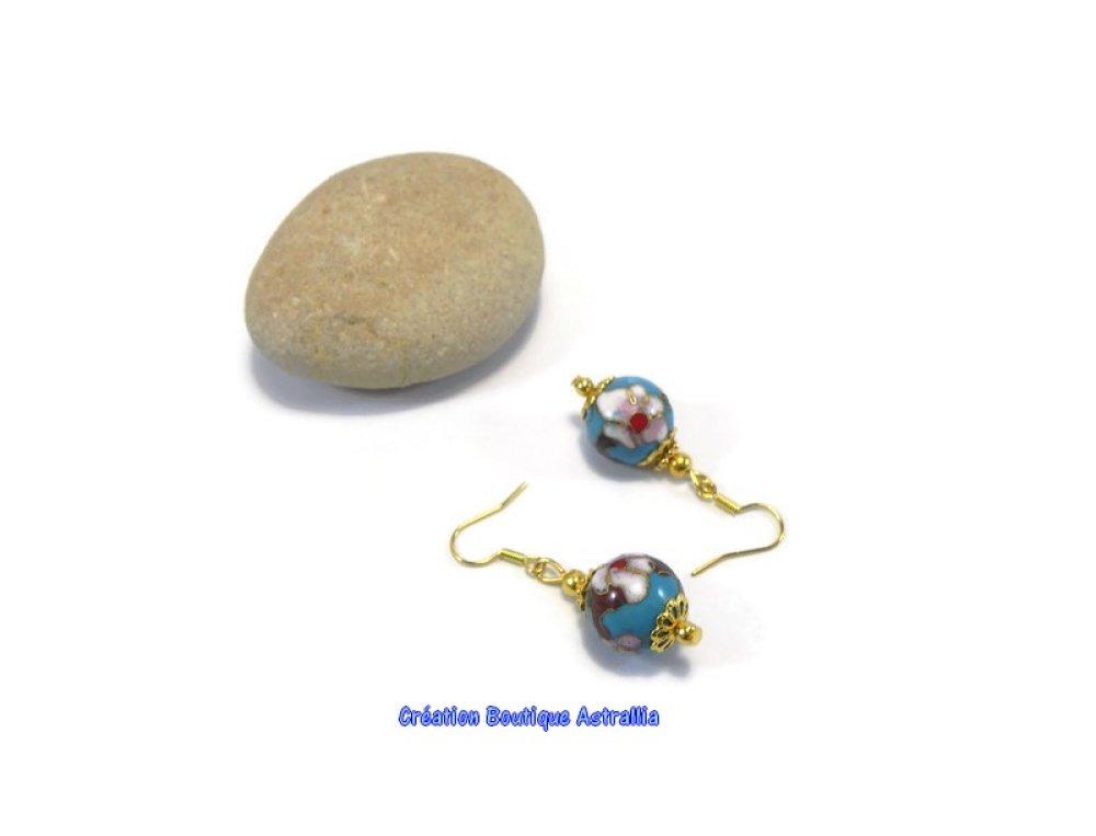Boucles d'oreilles en perles rondes cloisonnées aux motifs fleuris
