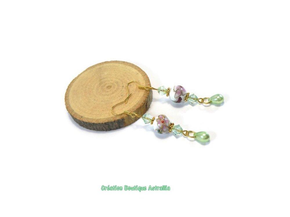 Boucles d'oreilles en perles cloisonnées et toupies en cristal Swarovski