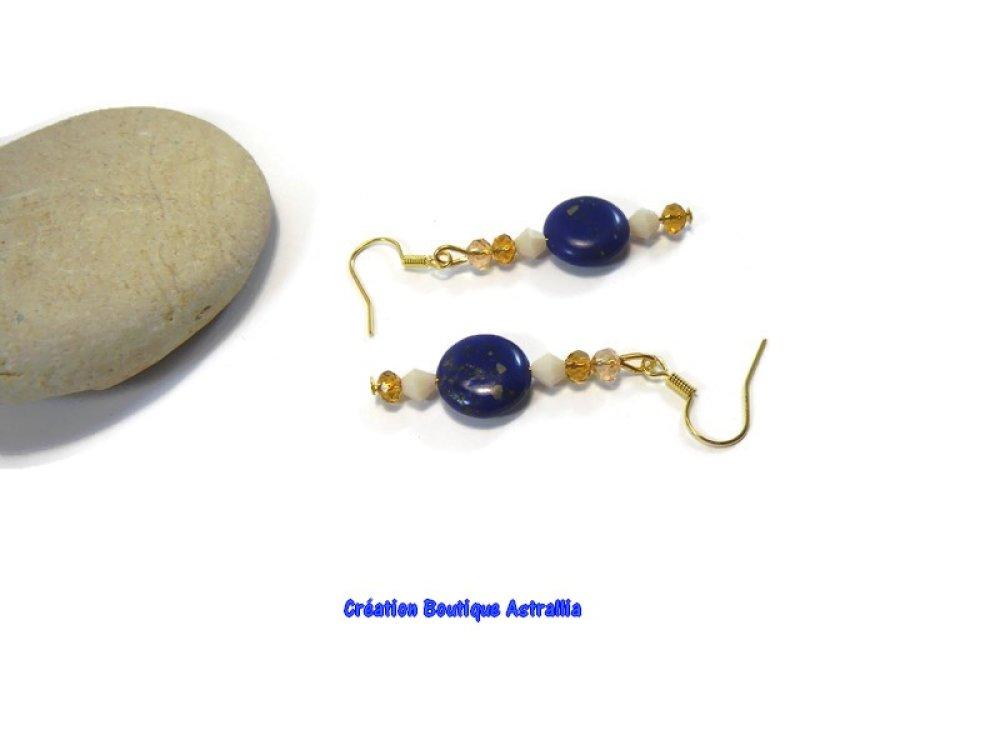 Boucles d'oreilles en pierres fines de lapis-lazuli et perles en cristal facetté