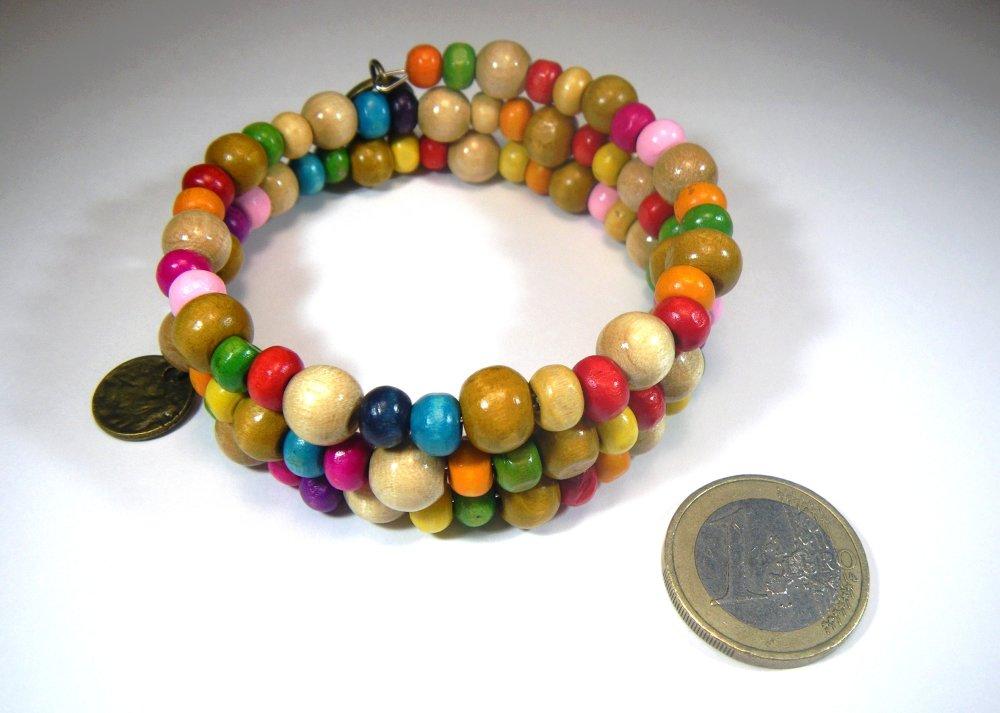 RESERVE pour Laura G. - Bracelet en perles de bois multicolores