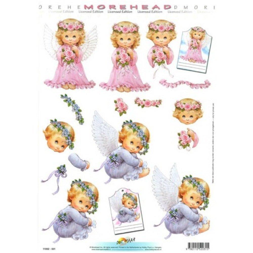 Feuille A4 Découpage 3D - Anges / Chérubins - bleu lavande et rose