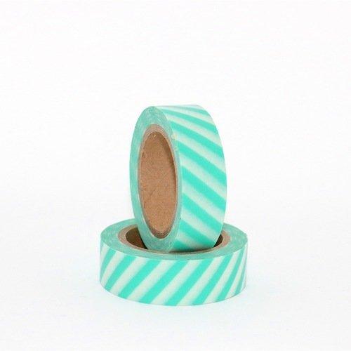 Masking tape rayé - vert menthe x 10 m