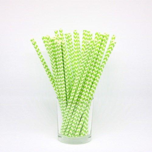 24 pailles en papier - chevrons - vert et blanc - anniversaire, goûter, fête, candy bar...