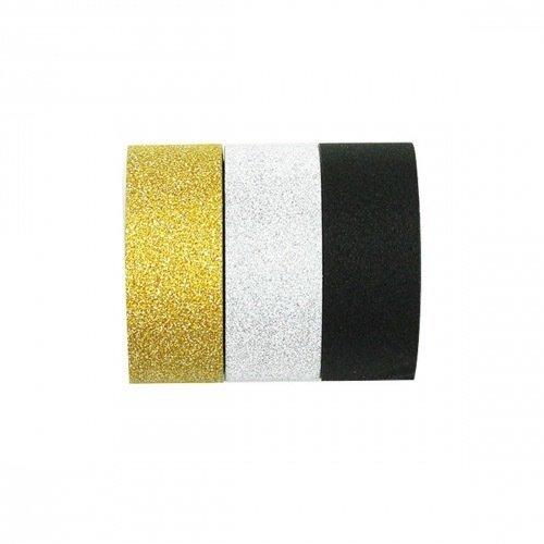 3 washi tape pailletés - or, argent et noir - kesi'art - 1,5 cm x 3 m
