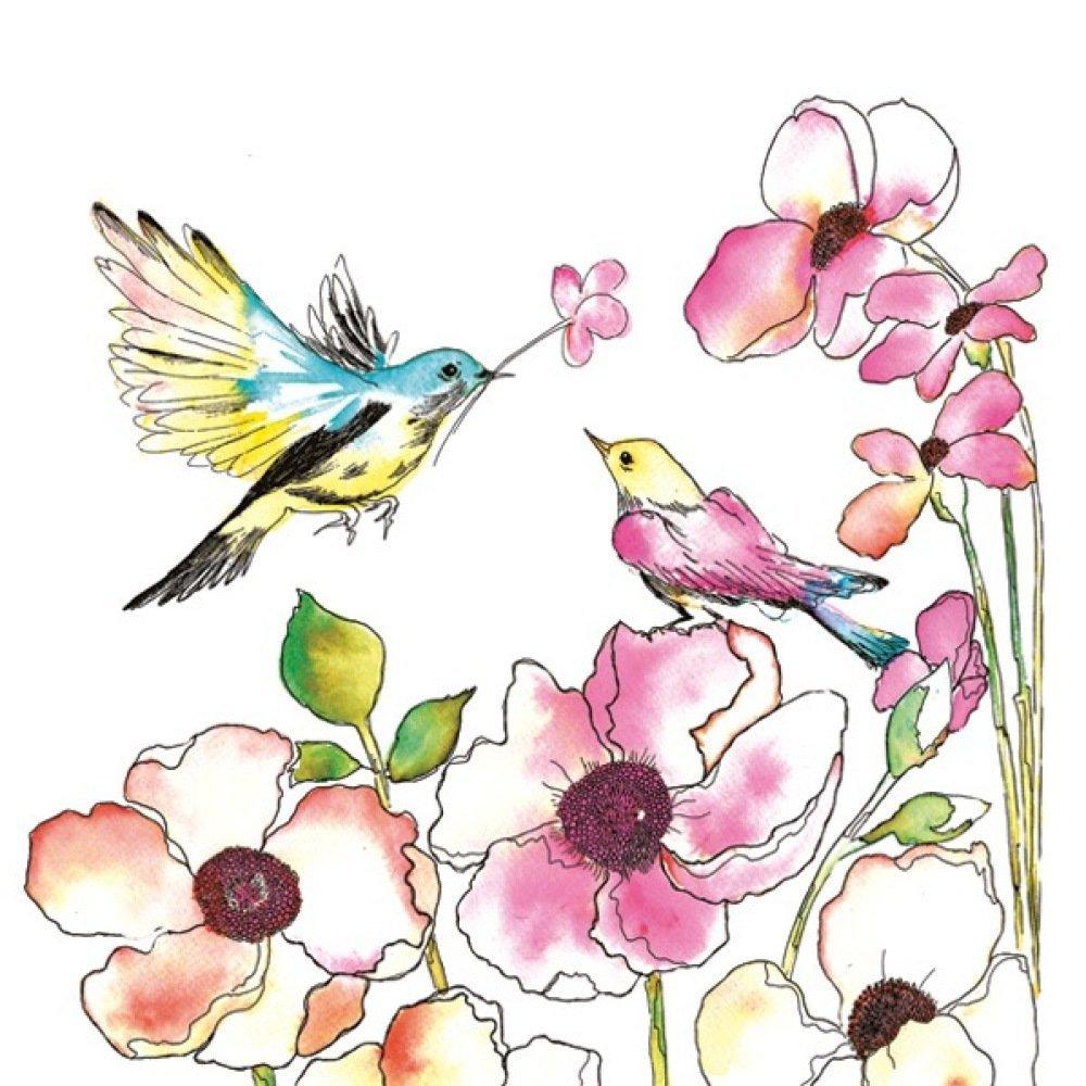 Serviette Papier Fleurs Oiseau Aquarelle Peinture Dessin Cadeau Nature Printemps Collage Collection X1