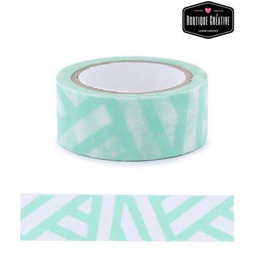 Masking tape - rayures turquoise - 5 m
