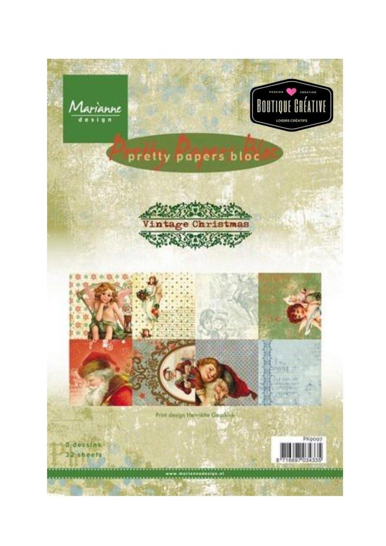 Bloc papier scrapbooking, Marianne Design, petit format, Noël, vintage, shabby, assortiment