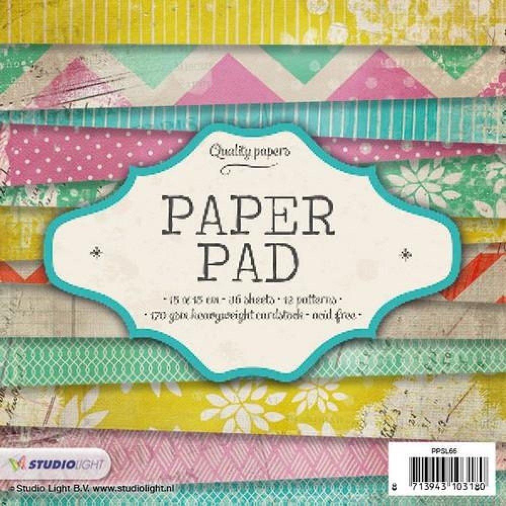 Bloc papier scrapbooking, Paper pad, petit format, Studiolight, carterie, jaune, rose, vert, turquoise, motif, imprimé, fleuri, 15x15