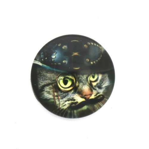 1 cabochon en verre illustré - chat steampunk avec moustache - rond - 20 mm
