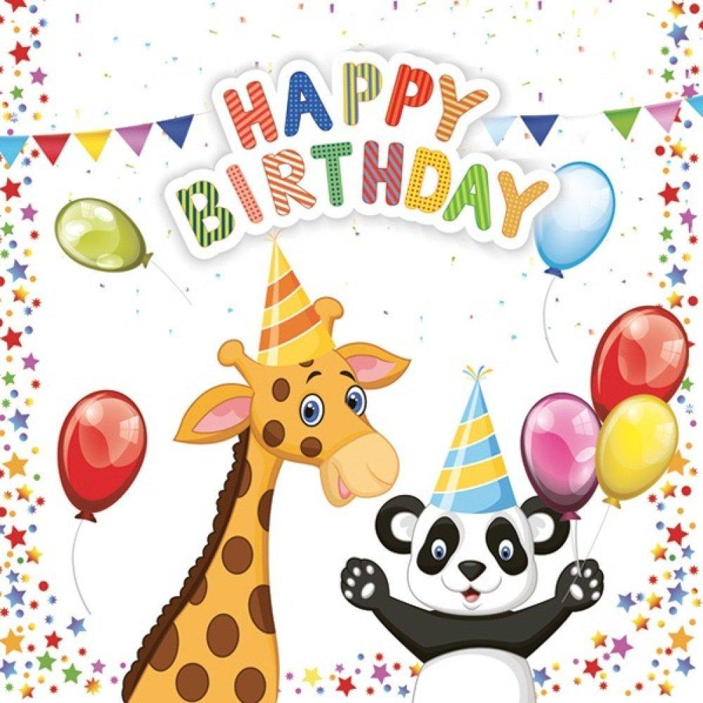 1 Serviette En Papier Anniversaire Enfant Happy Birthday Avec Animaux 33 X 33 Cm Un Grand Marche
