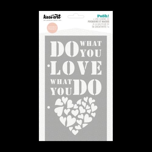 Pochoir kesi'art, bullet journal, amour, coeur, plastique, scrapbooking, peinture, atelier, customisation, posh, réutilisable, tissu, x1