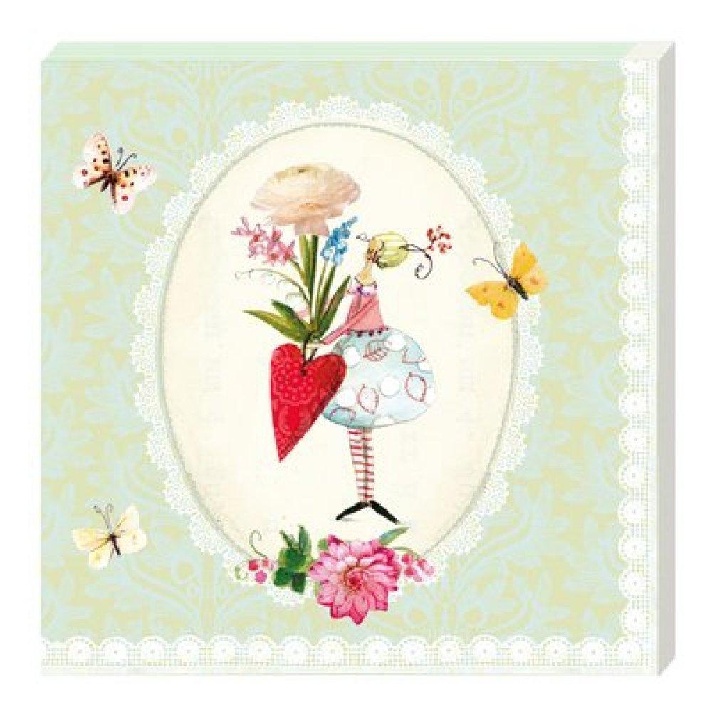 Serviettes En Papier Originales serviette papier jardin, 33x33 cm, jardinage, fée, arrosoir, printemps,  fleur, papillon, originale, collage, collection, serviettage, x1